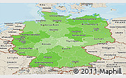 Political Shades Panoramic Map of Germany, shaded relief outside, bathymetry sea
