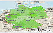Political Shades Panoramic Map of Germany, shaded relief outside