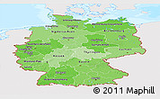 Political Shades Panoramic Map of Germany, single color outside, bathymetry sea