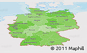 Political Shades Panoramic Map of Germany, single color outside