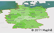Political Shades Panoramic Map of Germany, single color outside, satellite sea