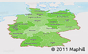 Political Shades Panoramic Map of Germany, single color outside, shaded relief sea