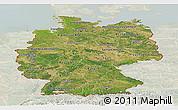 Satellite Panoramic Map of Germany, lighten