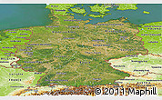 Satellite Panoramic Map of Germany, physical outside, satellite sea