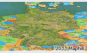 Satellite Panoramic Map of Germany, political outside, satellite sea