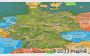 Satellite Panoramic Map of Germany, political shades outside, satellite sea
