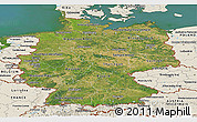 Satellite Panoramic Map of Germany, shaded relief outside, satellite sea
