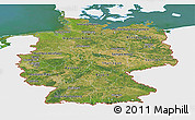 Satellite Panoramic Map of Germany, single color outside