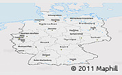 Silver Style Panoramic Map of Germany, single color outside