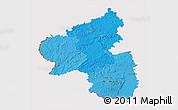 Political Shades 3D Map of Rheinland-Pfalz, cropped outside