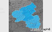 Political Shades 3D Map of Rheinland-Pfalz, darken, desaturated