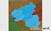 Political Shades 3D Map of Rheinland-Pfalz, darken