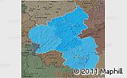 Political Shades 3D Map of Rheinland-Pfalz, darken, semi-desaturated