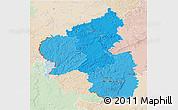 Political Shades 3D Map of Rheinland-Pfalz, lighten