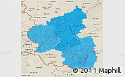 Political Shades 3D Map of Rheinland-Pfalz, shaded relief outside