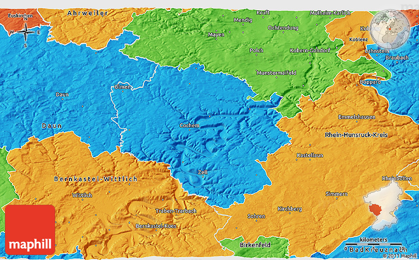 Map Of Zell Germany.Political 3d Map Of Cochem Zell