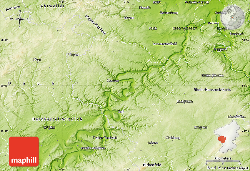 Map Of Zell Germany.Physical Map Of Cochem Zell
