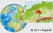 Physical Location Map of Rheinland-Pfalz