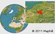 Satellite Location Map of Rheinland-Pfalz