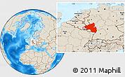 Shaded Relief Location Map of Rheinland-Pfalz