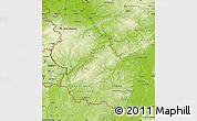 Physical Map of Rheinland-Pfalz