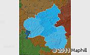 Political Shades Map of Rheinland-Pfalz, darken