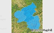 Political Shades Map of Rheinland-Pfalz, satellite outside