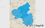 Political Shades Map of Rheinland-Pfalz, shaded relief outside