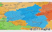 Political Shades Panoramic Map of Rheinland-Pfalz