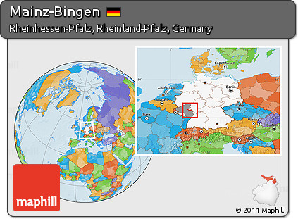 Bingen Germany Map.Free Political Location Map Of Mainz Bingen Highlighted Country