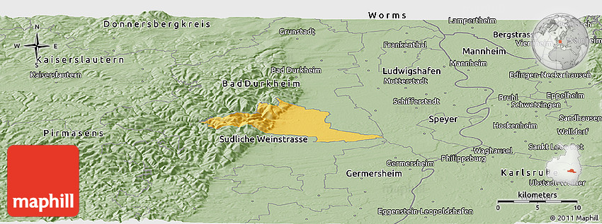 Neustadt Germany Map.Savanna Style Panoramic Map Of Neustadt An Der Weinstrasse