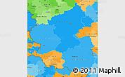 Political Shades Simple Map of Rheinland-Pfalz, political outside