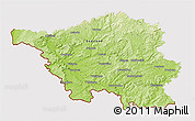 Physical 3D Map of Saarland, cropped outside