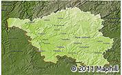 Physical 3D Map of Saarland, darken