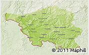 Physical 3D Map of Saarland, lighten
