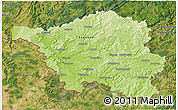 Physical 3D Map of Saarland, satellite outside