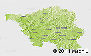 Physical 3D Map of Saarland, single color outside
