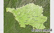 Physical Map of Saarland, darken