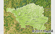 Physical Map of Saarland, satellite outside