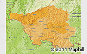 Political Map of Saarland, physical outside