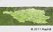 Physical Panoramic Map of Saarland, darken