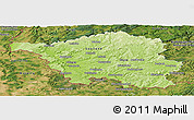 Physical Panoramic Map of Saarland, satellite outside