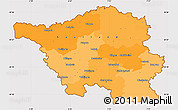 Political Simple Map of Saarland, cropped outside