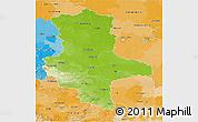 Physical 3D Map of Sachsen-Anhalt, political outside