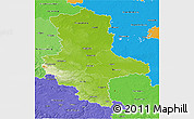 Physical 3D Map of Sachsen-Anhalt, political shades outside