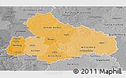 Political Shades 3D Map of Dessau, desaturated