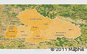 Political Shades 3D Map of Dessau, satellite outside