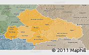 Political Shades 3D Map of Dessau, semi-desaturated