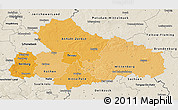 Political Shades 3D Map of Dessau, shaded relief outside