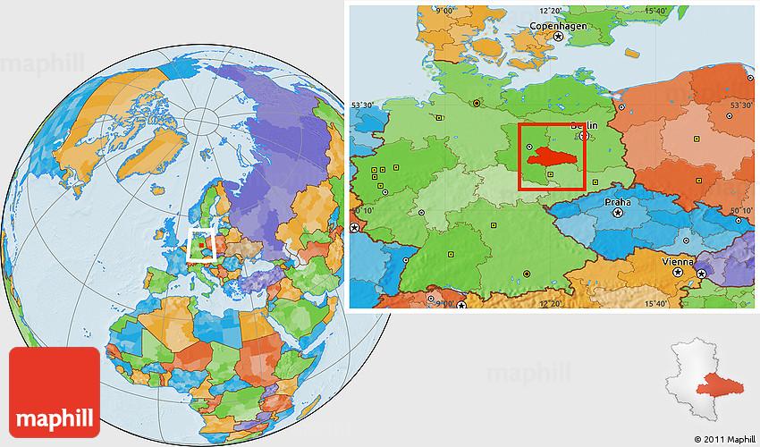 Political Location Map of Dessau